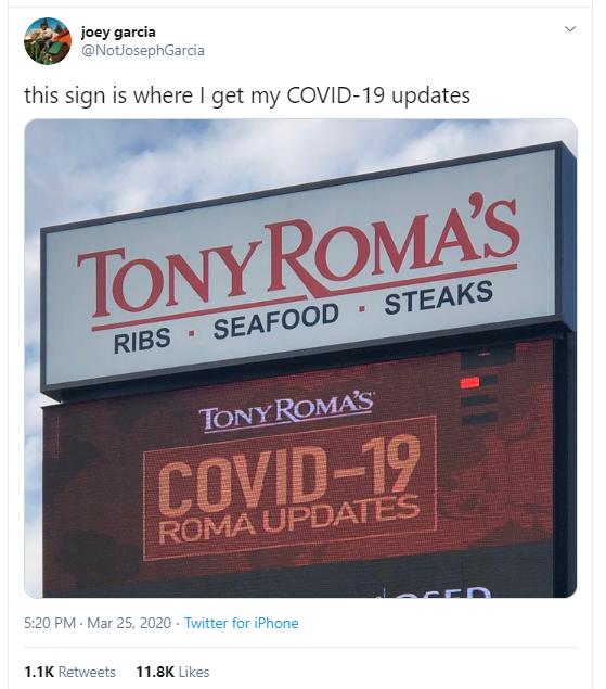 Tony Roma Covid